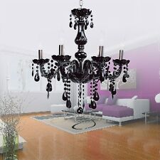 Black Chandelier Ceiling Light Fixture Pendant Crystal Lighting + 6 Bulb