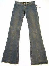 SERFONTAINE ~Dakota Jean~ Leather Lace Hippy Flare Jeans Size 4 x 32