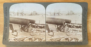 Russian Ships Poltava and Retvizan – Port Arthur – Stereoview Slide – 1905