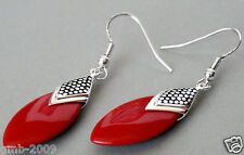Pretty 925 Sterling Silver Red Coral Gemstone Flat Drop Earrings