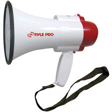 NEW Handheld White Red Megaphone.Siren.Bull Horn.Crowd Speech.1000 Yard Range.