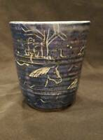 "Blue Ceramic - Primitive Folk Art Design Vase / Planter 6"" Tall"
