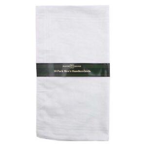 10 x Mens White Handkerchiefs Hankies Hanky Hankerchiefs Cloths