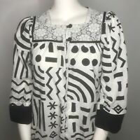Vtg 80s Napili Hawaiian Black White Geometric 1/2 Zip Muumuu House Dress Size L