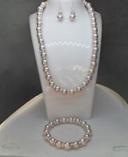 Beautiful Dusky Pink Pearl Necklace, Bracelet and Sterling Silver Earring Set