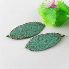 Vintage Bronze Patina Color Alloy Leaves Shaped Pendants Charms Crafts 10pcs