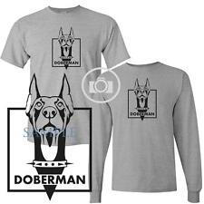 Doberman Pinscher Security Guard Dog Graphic Short / Long Sleeve Gray T Shirt