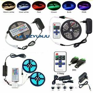 5M 10M SMD 3528 5050 5630 300LEDs RGB White LED Strip Light 12V Power Supply