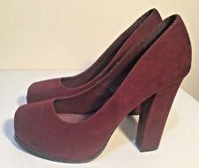 Size AU 8 / EUR 39 / UK 6 / US 8 Women's Red Wine Suede Platform Chunky Heels