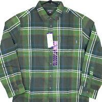 New Eddie Bauer Button Up Shirt Mens 2XL XXL Green Pine Plaid Bristol Flannel