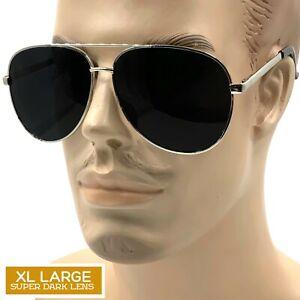 XL Large MENS TOP GUN Sunglasses Retro Vintage Black Lens Police Pilot Metal Cop