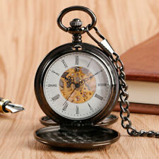 Smooth Black Case Double Hunter Hand Winding Mechanical Pocket Watch Pendant