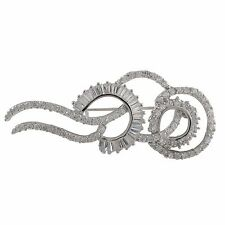 Sterling Silver CZ Baguette Swirl Womens Bridal Pin Brooch