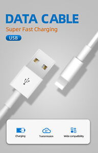 For iPhone 7 8 11 Plus X XR Charger Cable USB Heavy Duty Charging Cord Data Cabl