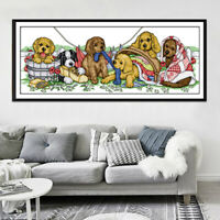 Dimensions Stamped Cross Stitch Kit - Printed Cute Dogs 11CT Aida Cloth