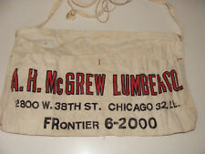 Vintage Nail Apron A H McGrew Lumber Co Chicago c 1940s