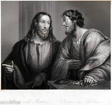 Gesù Cristo e San Matteo,de il Pordenone.Acciaio.Steel Engraving.STAHLSTICH.1850