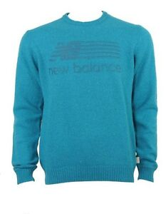 New Balance intarsia wool mix jumper petrol-blue