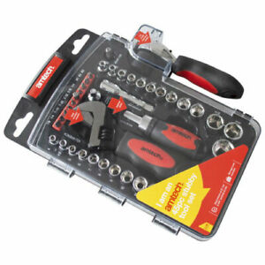 """Socket And Stubby Tool Set 45 Pieces Adjustable Wrench 1/4"""" 3/8"""" - Am-Tech I1100"""