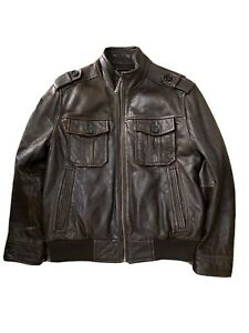 Andrew Marc Brown Leather Jacket L large size