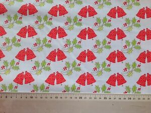 Christmas Fabric by metre Red Xmas Bells on pale blue 100% cotton