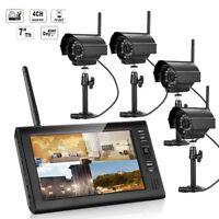 "7"" Wireless Monitor 2.4GHz 4CH CCTV DVR WIFI Cameras Audio Security System"