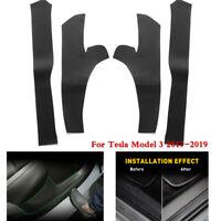 4pcs/Set Car Front Rear Door Sill Protector Cover Trim For Tesla Model 3 2017-19