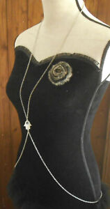 Pretty Silver Tone & Crystals Hamsa Hand Body Chain Necklace Bikini Harness: UK