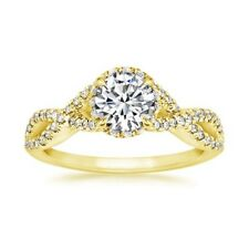 Gold Engagement Wedding Rings Size 7 6.5 1.18 Ct Round Vvs1/D Diamond 14K Yellow
