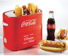 Retro Red Coca-Cola Hot Dog Cooker w/Bun Toaster and Crumb Tray - Vintage Vibe