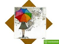 Girl with rainbow umbrella Quilling Greeting Card-Unique Dedicated Handmade Art