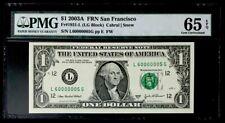 GEM 2003A $1 SUPER FANCY SER# 60000005- PMG #65EPQ GEM NEW - BEAUTIFUL