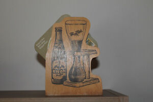 Bierdeckelhalter aus Holz - Brauerei Kwak -  dazu 15 Bierdeckel Brugse Stadsbier