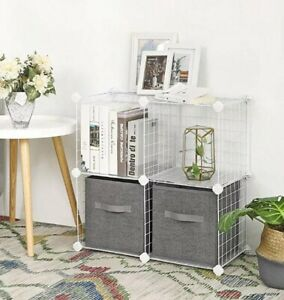 "4 Cube Metal Wire Storage Shelves Home Office Book Shelf Furniture ""White"""