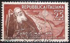 ITALIA REPUBBLICA - Massaia, 25 L. bruno rosso e br. (702) - usato - rif.127 RE