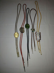 BOLO 5 Tie Lot Natural Stone Shells Silver Saddle, Variety