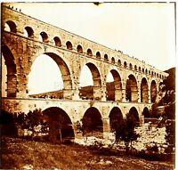 Francia Pont Del Gard c1910 Acquedotto Romain, Foto - Vintage Placca Lente VR4L