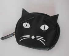 Adorable! Black Cat coin purse zip closed  synthetic leather