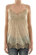 PINK MEMORIES New Woman Beige Lace Cami Tank Top Camisole 100% Silk Size 44 IT