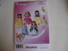 "NEW Simplicity 1581 Pattern 6 Princess Dresses Fits 18""  American Girl"