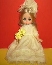 "8"" DOLL  Little Blonde doll with sleep eyes wearing Bridesmaid dress and bouquet"