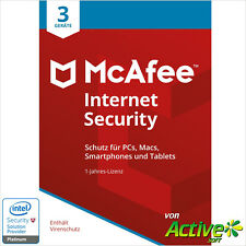 McAFEE Internet Security 2018 3PC 1Jahr | VOLLVERSION / Upgrade | UE DE-Lizenz