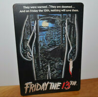 """FRIDAY THE 13TH Metal Sign Picture Jason Silhouette Vintage Look 13"""" x 9"""""""