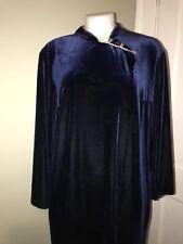 VELVET Royal Blue RAZA NEW YORK Maxi DRESS size L Asian Collar loungewear ROBE