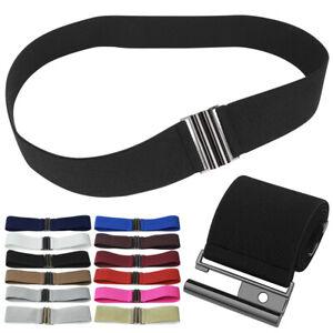 Solid Causal Women Wide Design Elastic Waist Belt Stretch Cinch Dress Waistbands