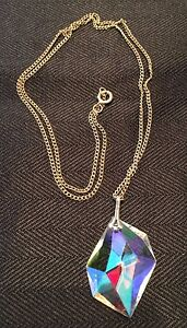 Vintage Clear Crystal Pendant Necklace & 24 Inch Gold-tone Metal Chain