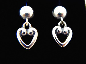 Retired James Avery Sterling Silver Heart Dangle Earrings