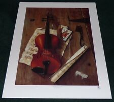 WILLIAM GALVES VIOLIN WITH PLAYING CARDS 1990 POSTER PRINT MUSIC STILL LIFE