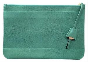 Dooney & Bourke Pebbled Leather Oversized Belize Anna Turquoise Blue Clutch NWT