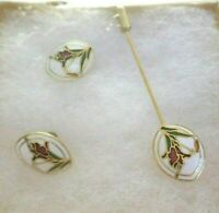 Earrings & lapel pin set cloisonne Vintage in original  box